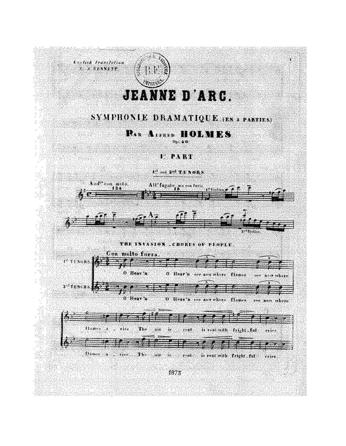 Jeanne d'Arc Symphony, Op 40 (Holmes, Alfred) - IMSLP/Petrucci Music