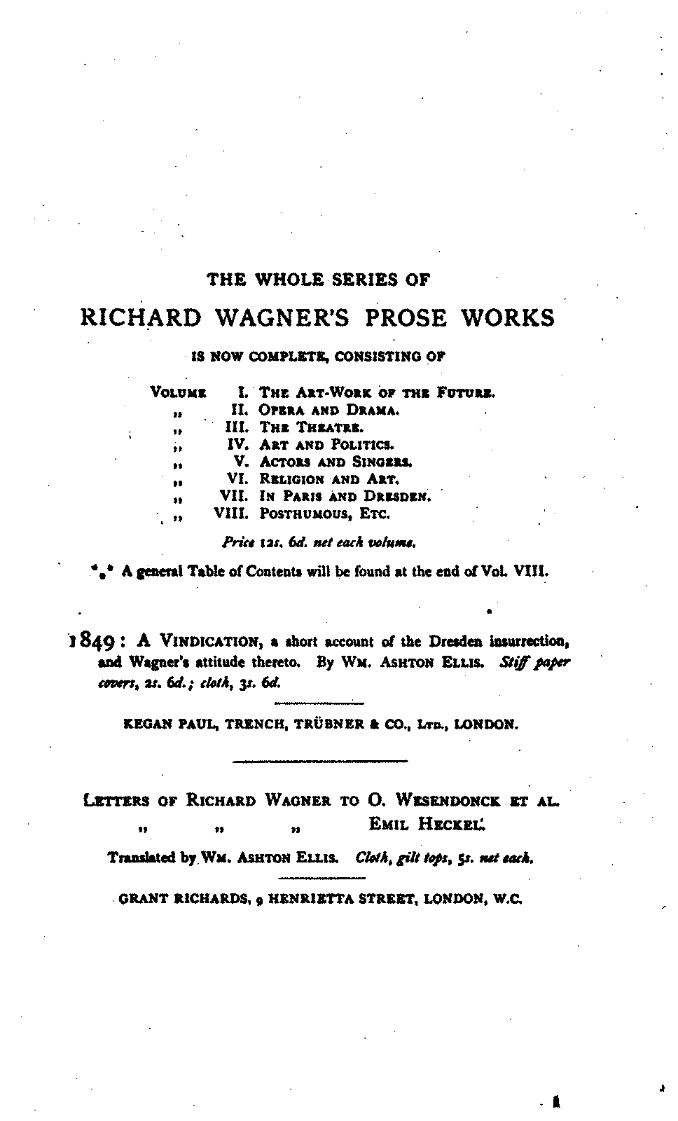 Richard WagnerS Prose Works Wagner Richard  ImslpPetrucci