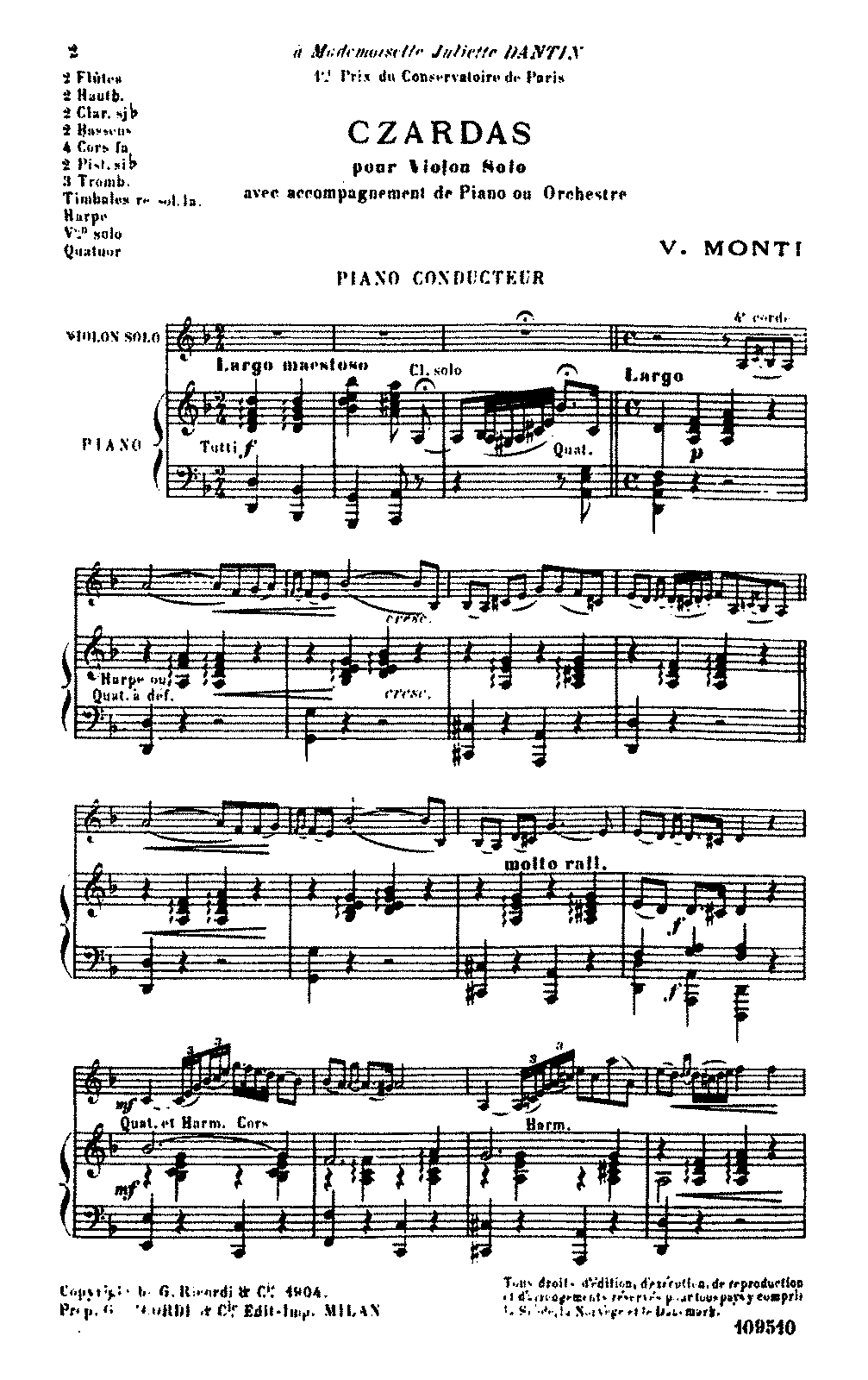 Csardas Monti Vittorio Imslp Petrucci Music Library Free
