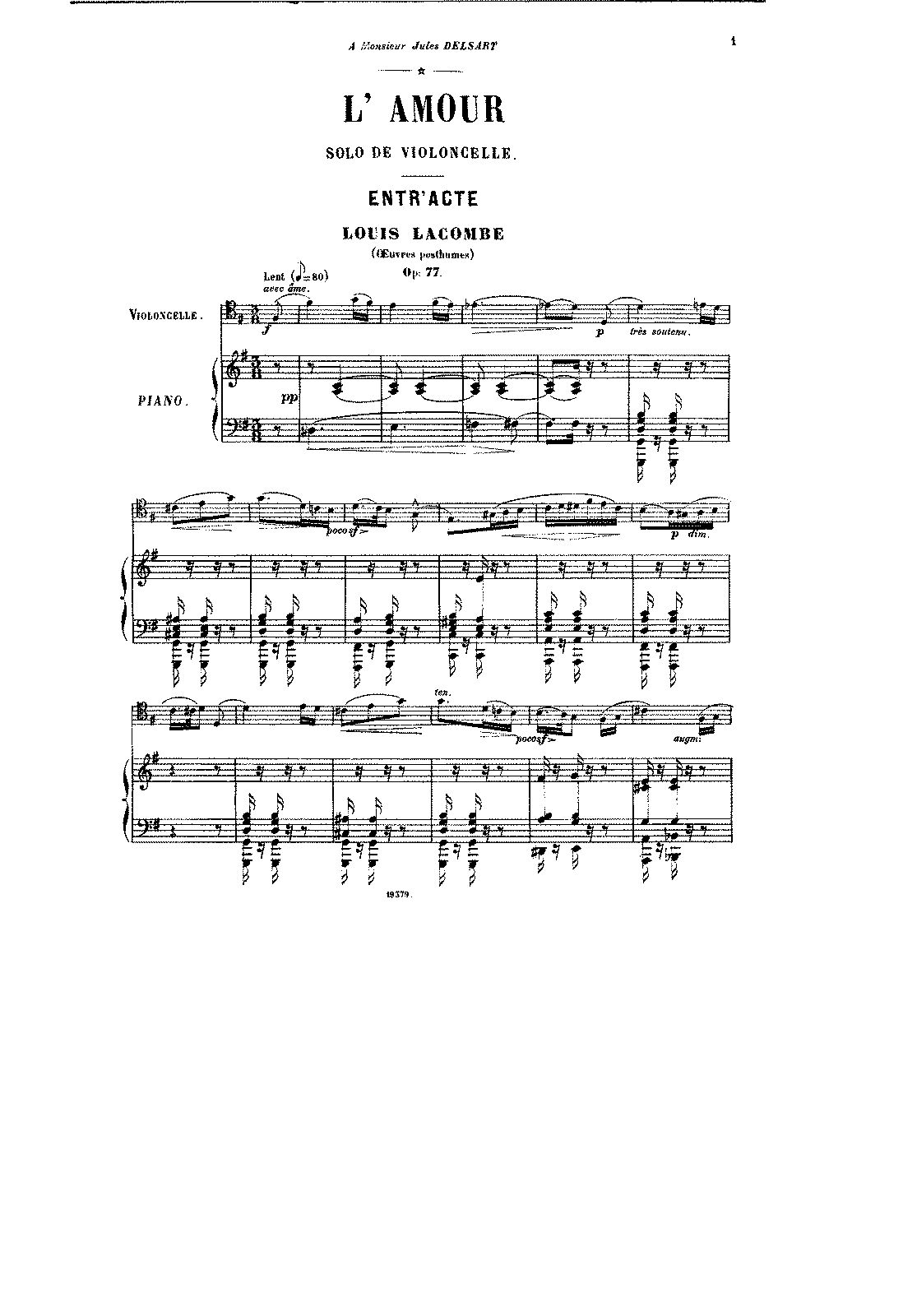 L'amour, Op 77 (Lacombe, Louis) - IMSLP/Petrucci Music Library: Free