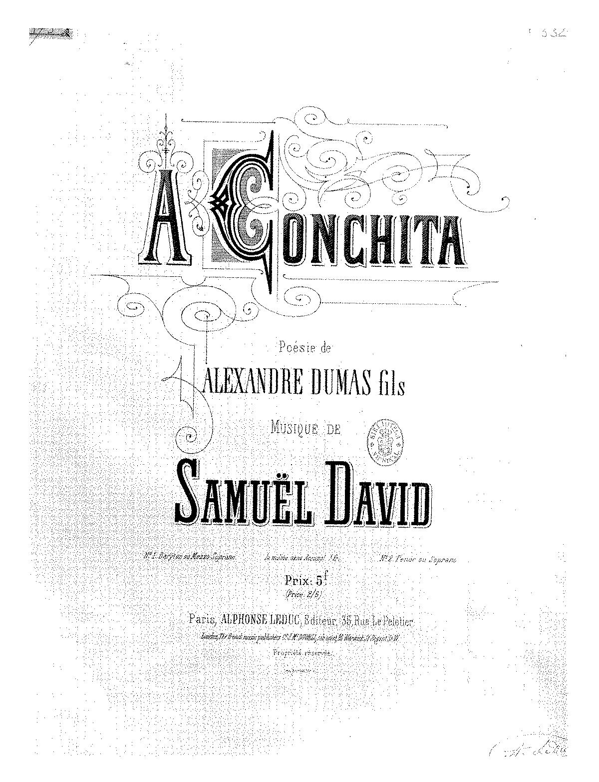 À Conchita (David, Samuel) - IMSLP/Petrucci Music Library: Free
