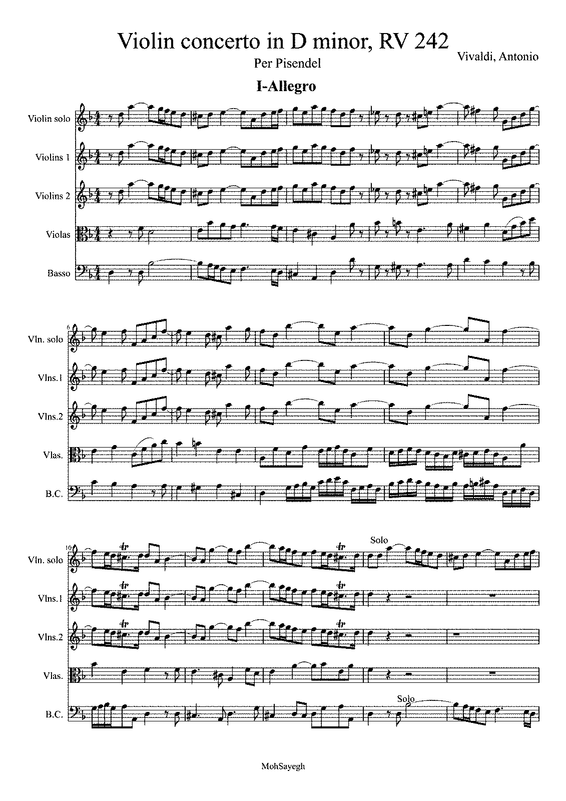 Violin Concerto in D minor, RV 242 (Vivaldi, Antonio