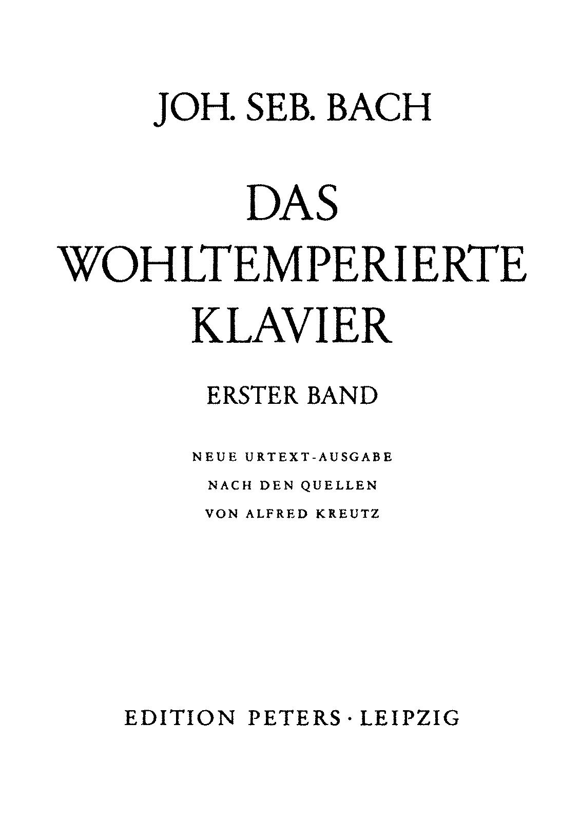 Das wohltemperierte Klavier I, BWV 846-869 (Bach, Johann Sebastian) -  IMSLP: Free Sheet Music PDF Download