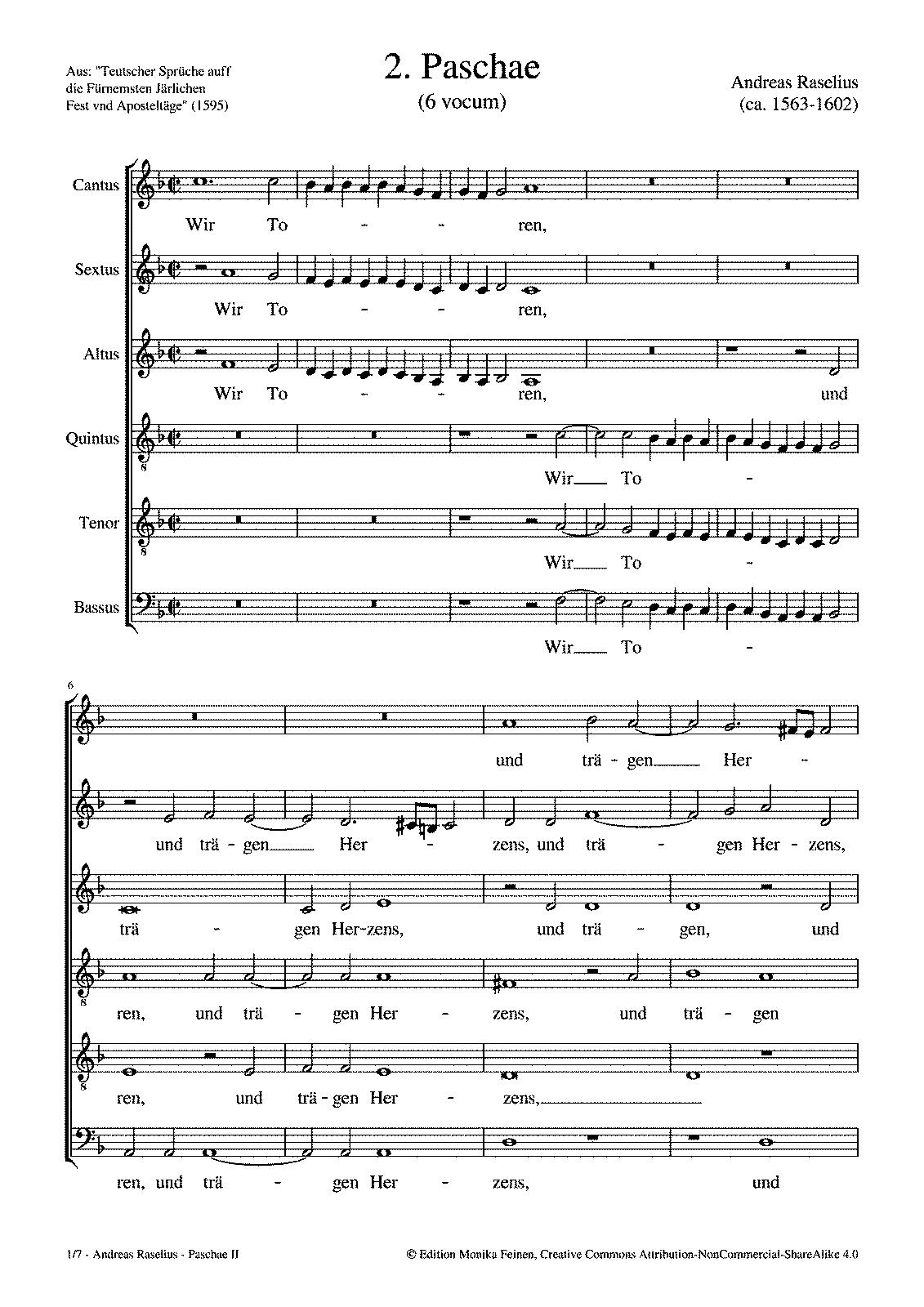 2  Paschae (Raselius, Andreas) - IMSLP/Petrucci Music