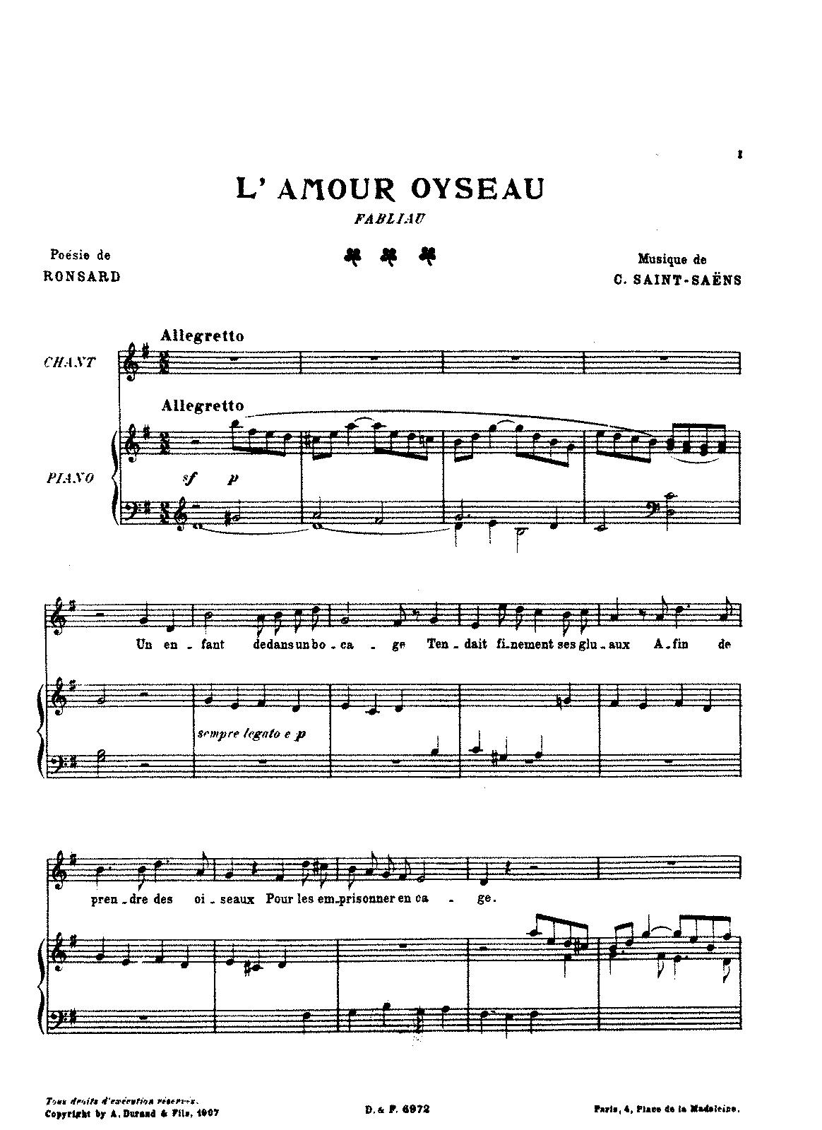 5 poèmes de Ronsard (Saint-Saëns, Camille) - IMSLP/Petrucci