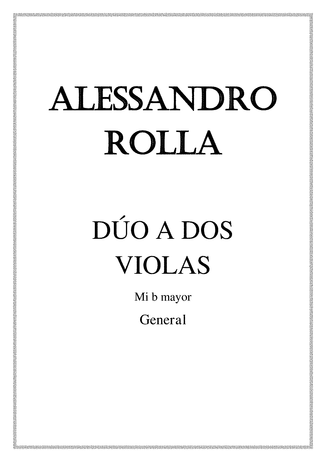 Viola Duo In E Flat Major Bi 10 Rolla Alessandro Imslp