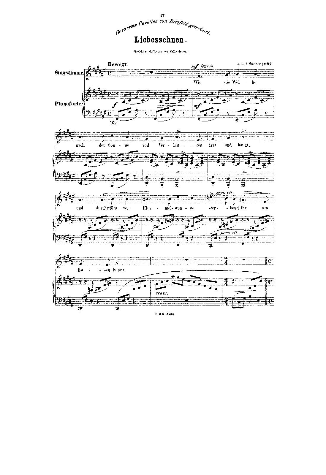 Liebessehnen (Sucher, Josef) - IMSLP/Petrucci Music Library: Free