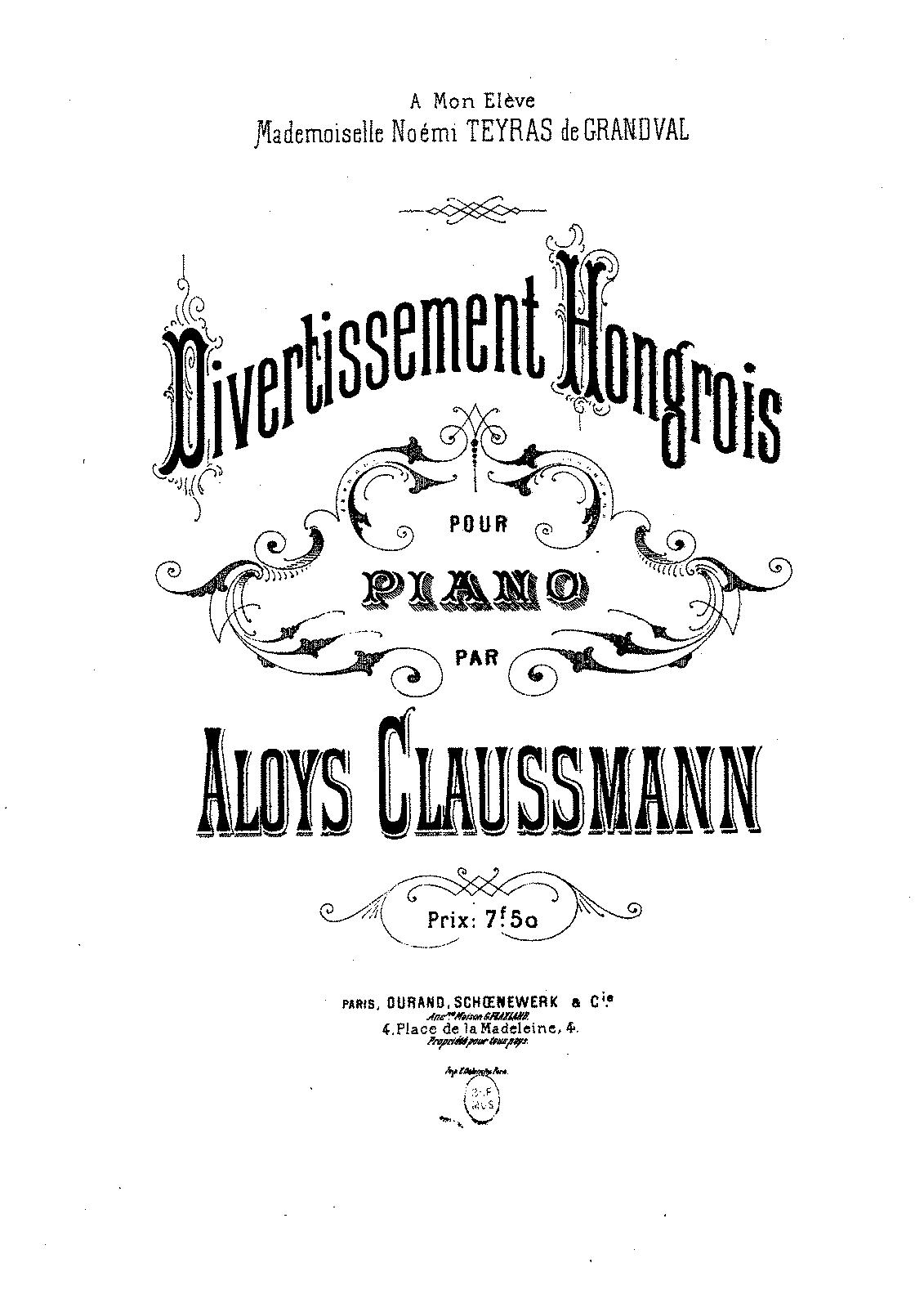 Divertissement hongrois (Claussmann, Aloÿs) - IMSLP/Petrucci Music