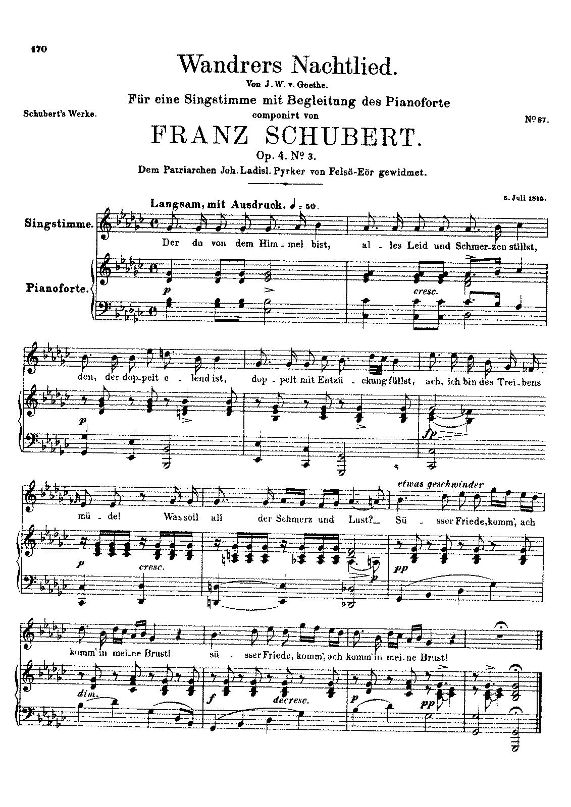 wandrers nachtlied, d.224 (schubert, franz) - imslp: free sheet music pdf  download  imslp