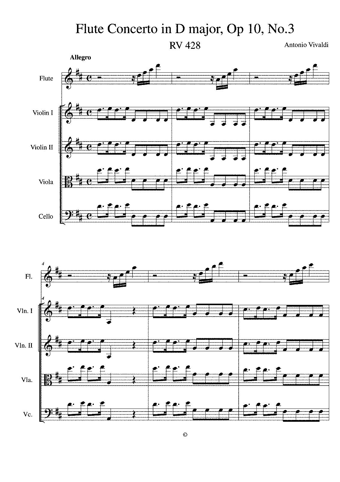 Flute Concerto In D Major Rv 428 Vivaldi Antonio
