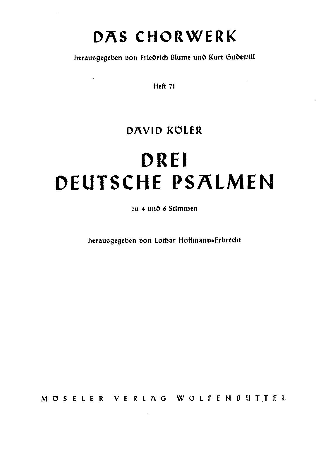 3 German Psalms (Köler, David) - IMSLP/Petrucci Music Library: Free