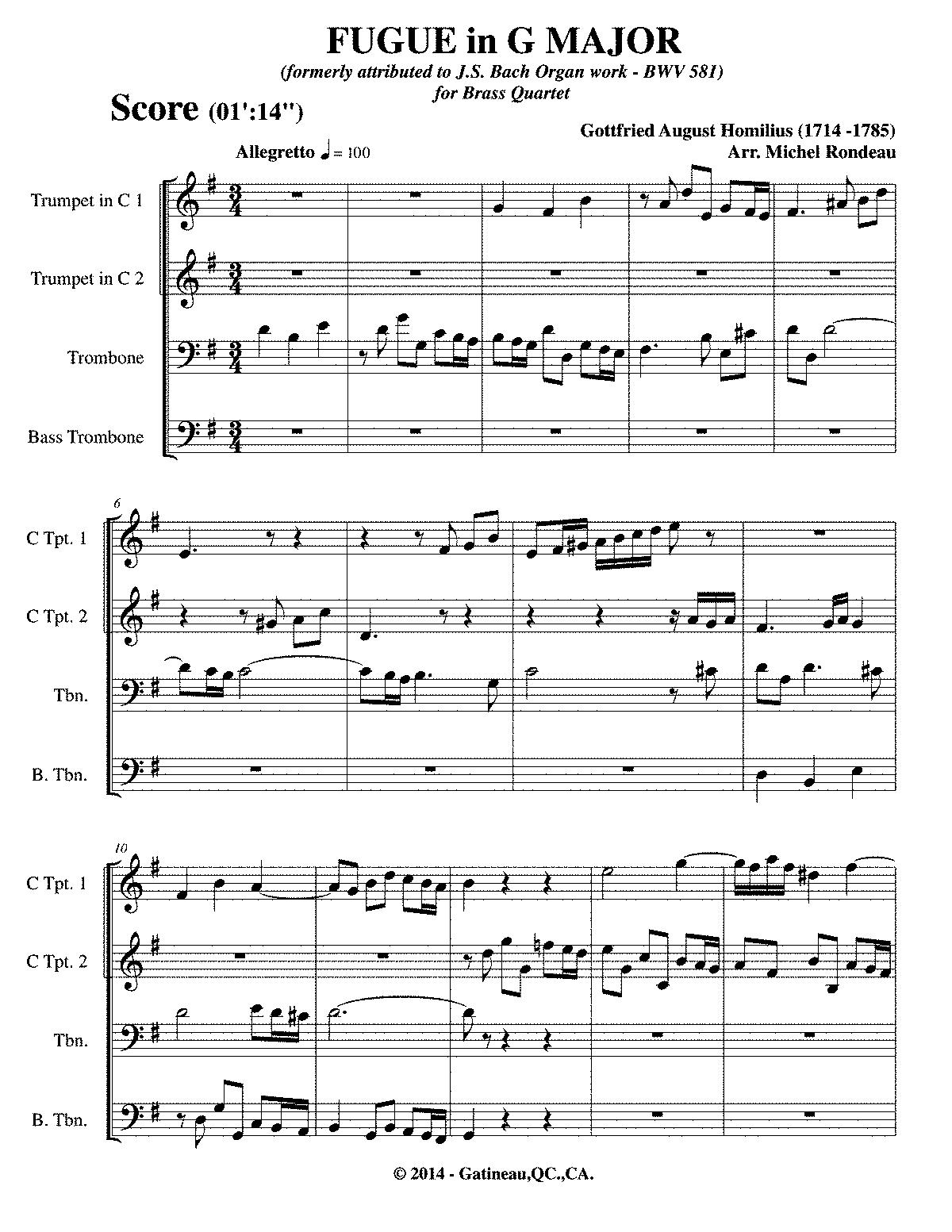 fugue in g major homilius gottfried august imslp petrucci music
