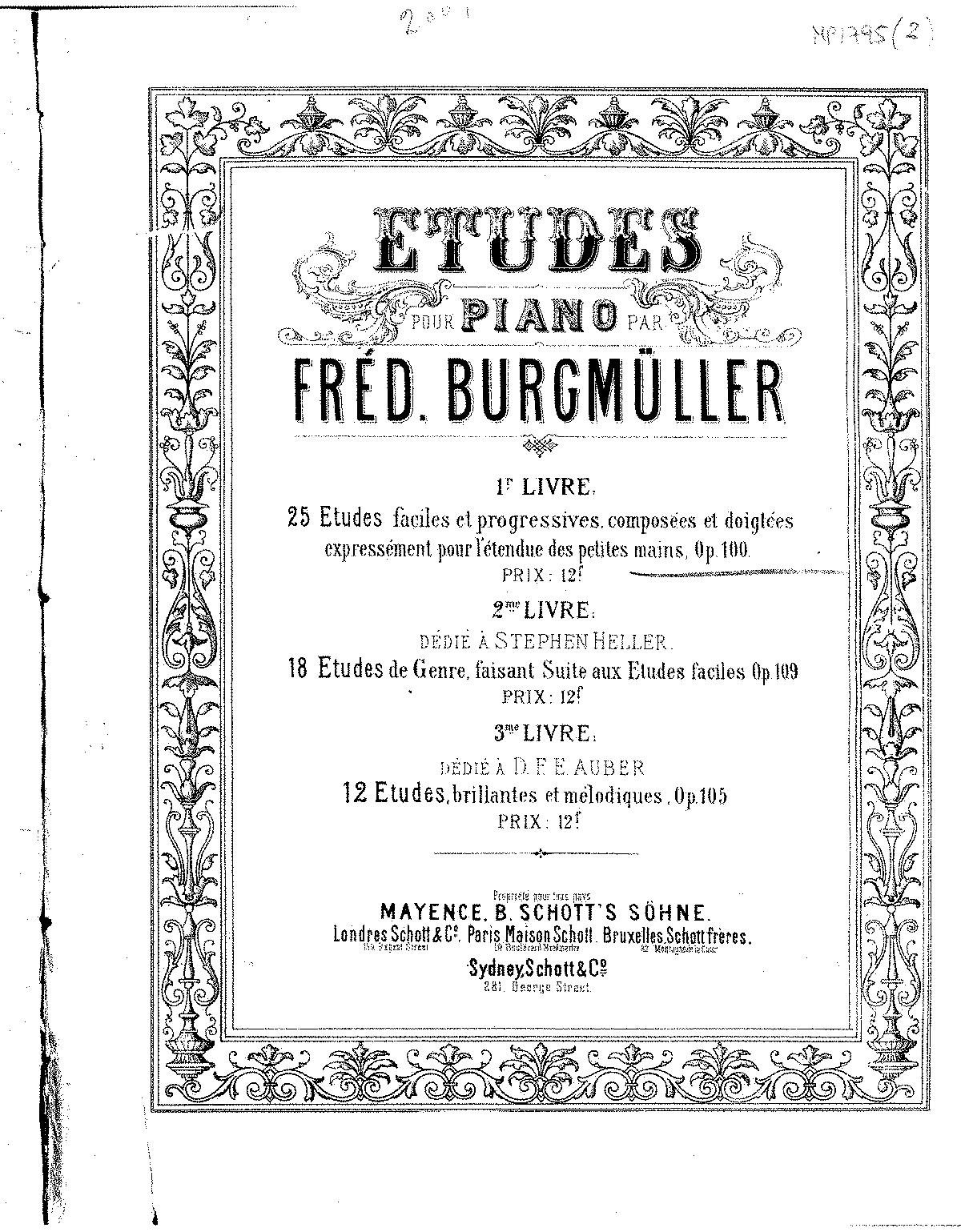 Burgsmüller Op 100 :Etüden ~ bearbeitet von M P Heller