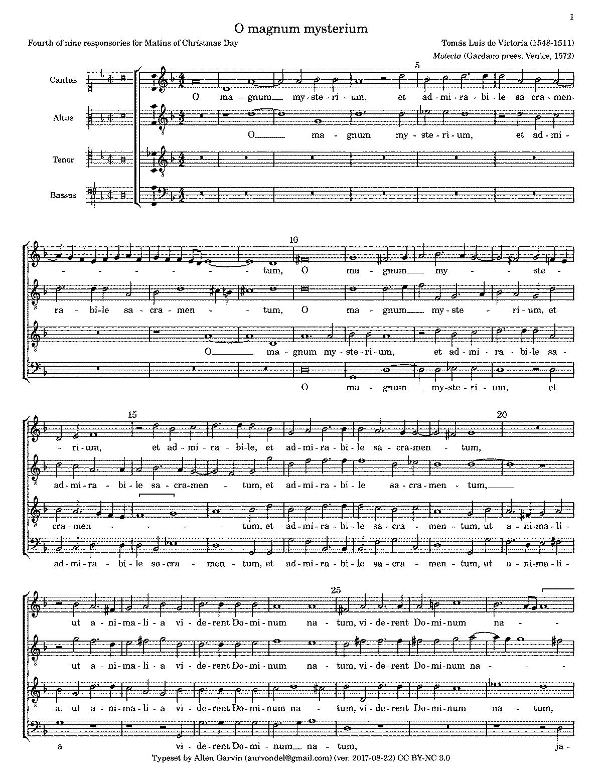 O magnum mysterium (Victoria, Tomás Luis de) - IMSLP/Petrucci Music ...