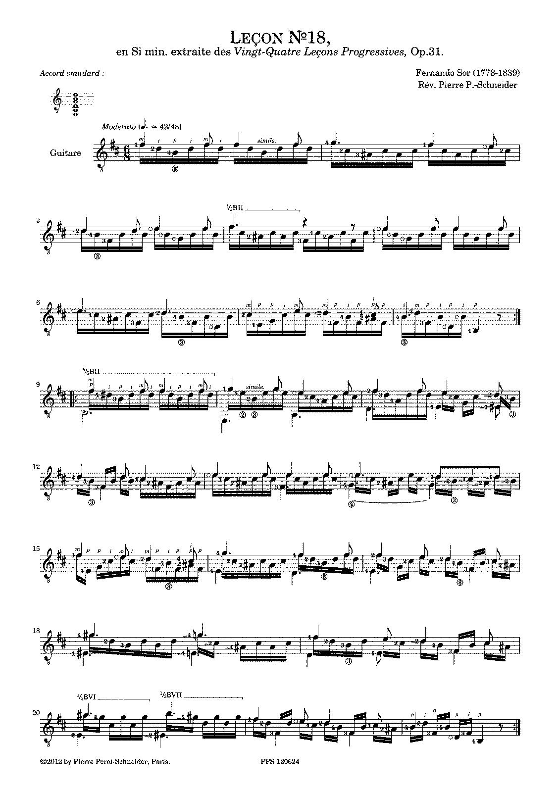 lecons progressives op sor fernando petrucci  moderato in b minor no 18