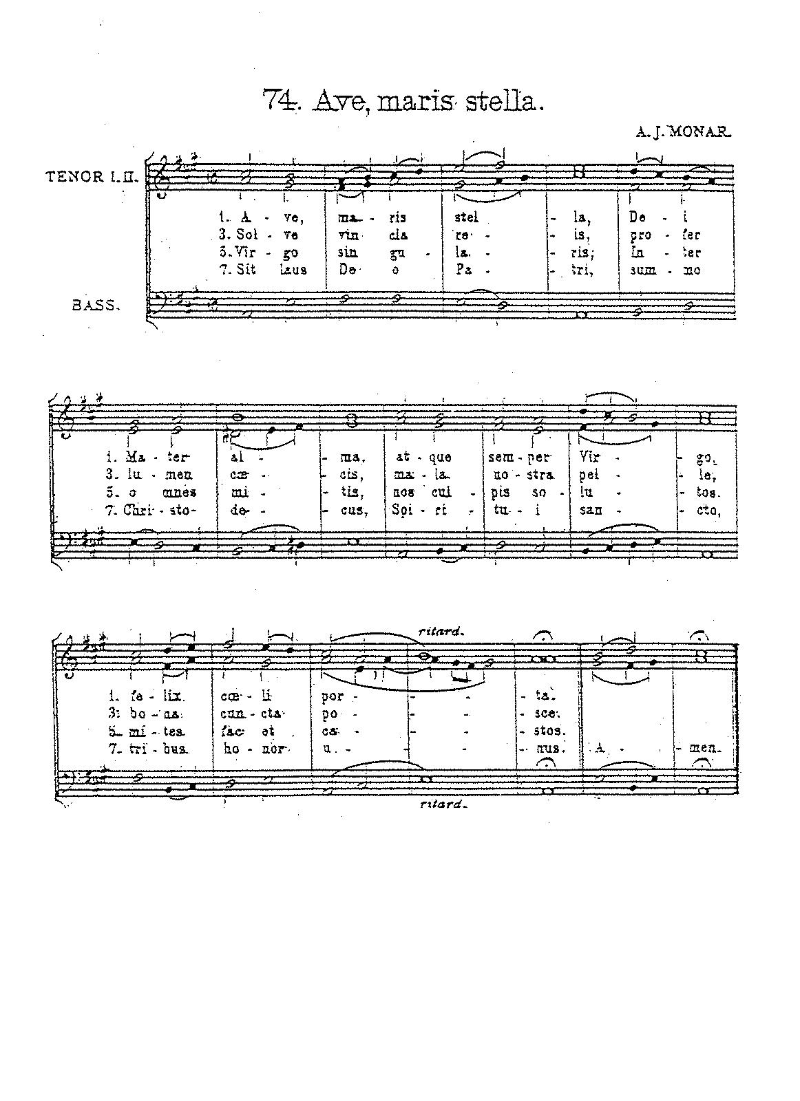 Ave maris stella (Monar, Arnold Joseph) - IMSLP/Petrucci Music