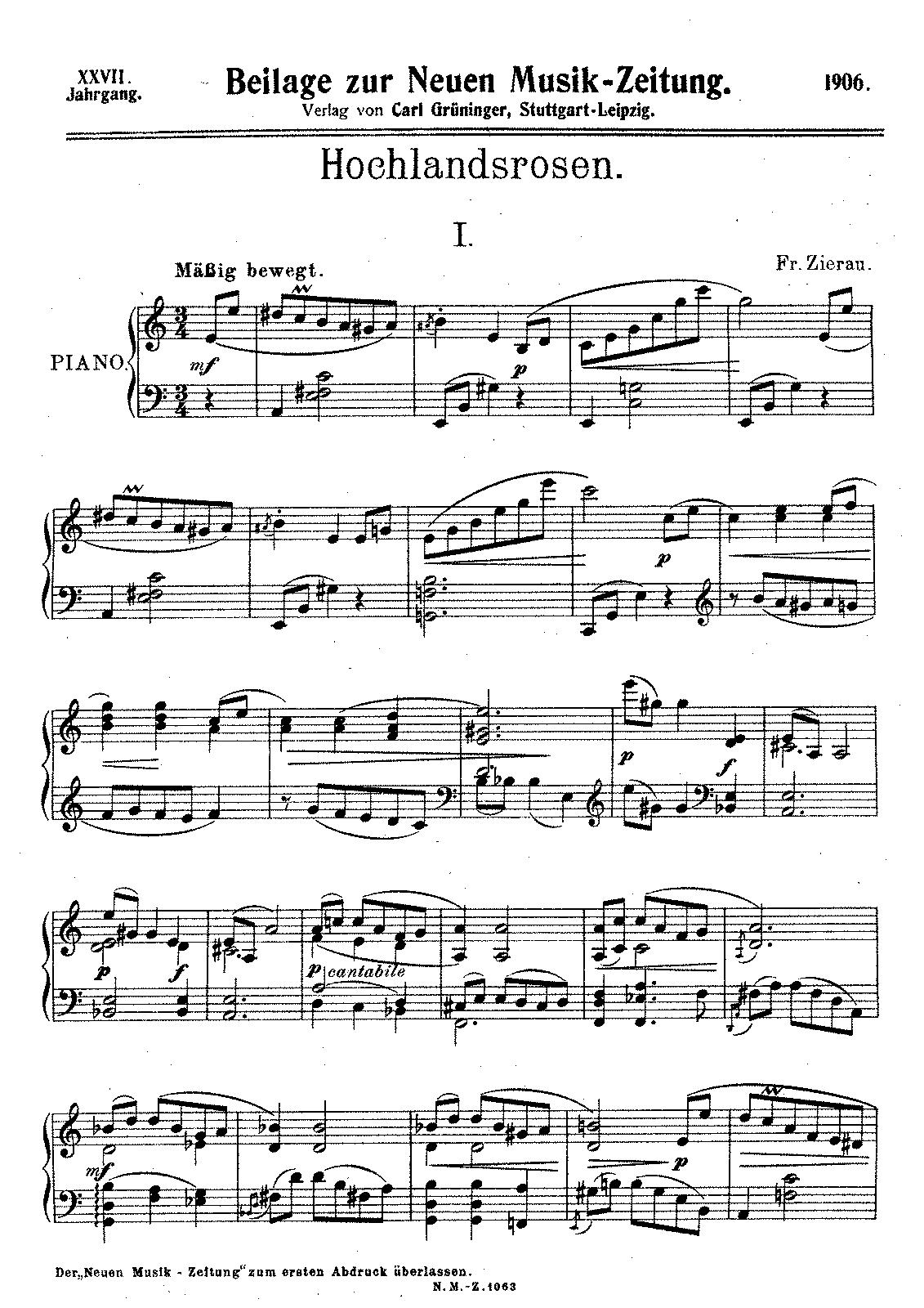 Hochlandsrosen (Zierau, Fritz) - IMSLP/Petrucci Music Library: Free