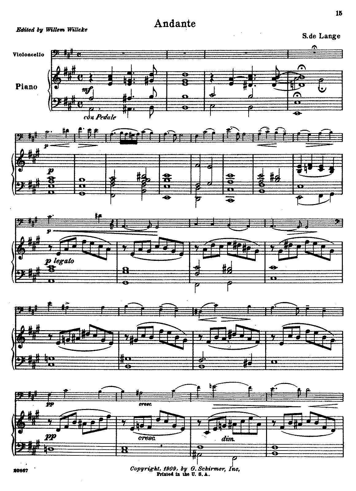 Andante in A major (Lange Sr , Samuel de) - IMSLP/Petrucci Music