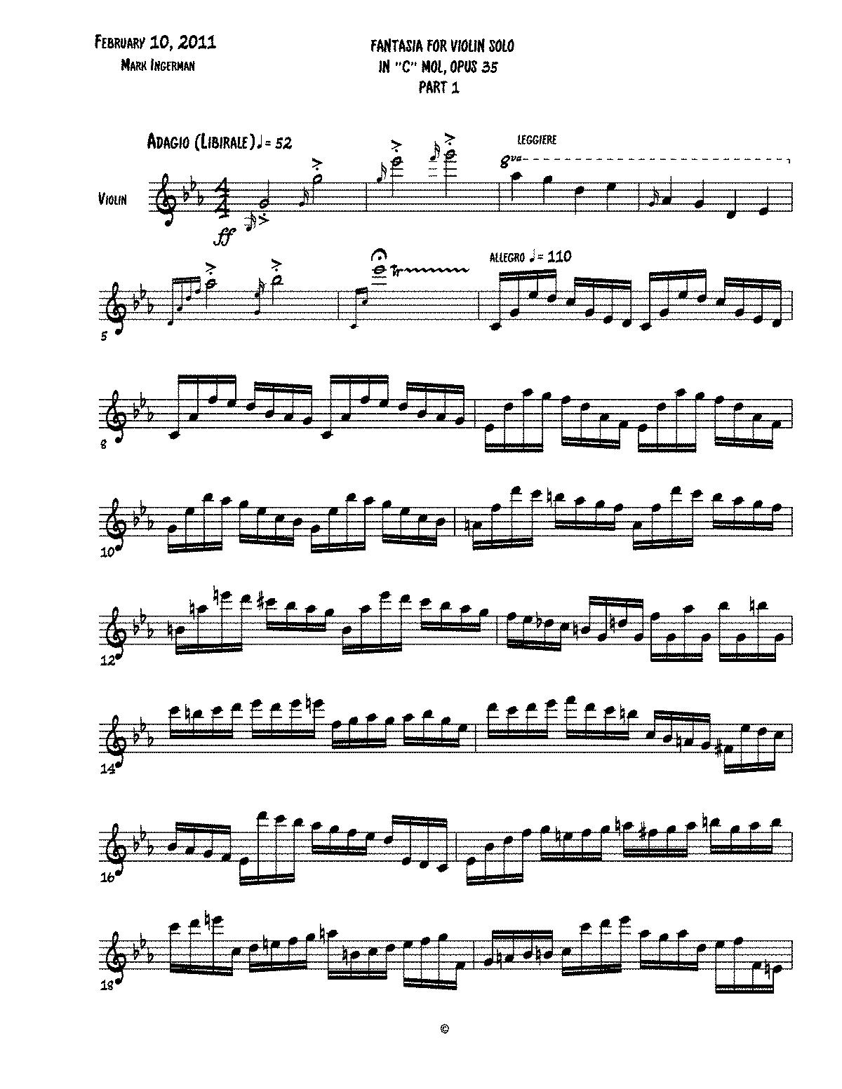 Fantasy for Solo Violin