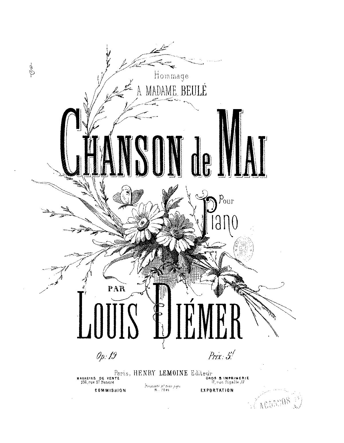 Chanson de mai, Op 19 (Diémer, Louis) - IMSLP/Petrucci Music Library