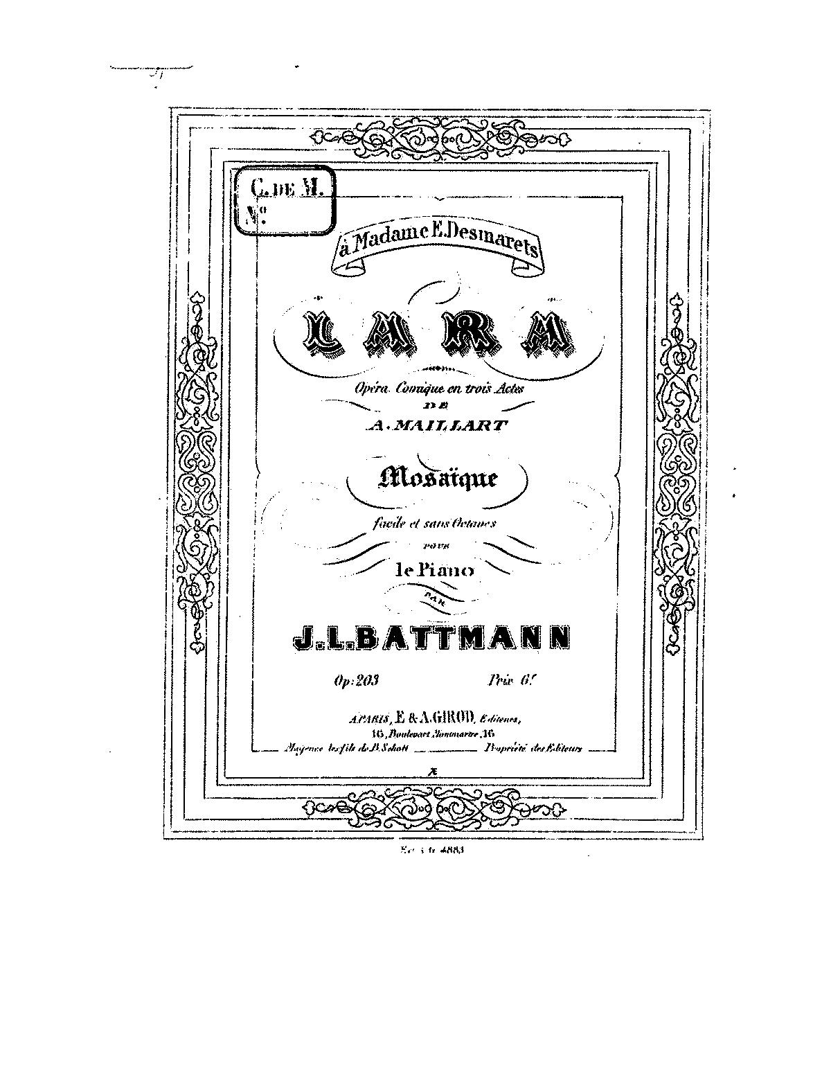 Mosaïque sur 'Lara', Op 203 (Battmann, Jacques-Louis) - IMSLP