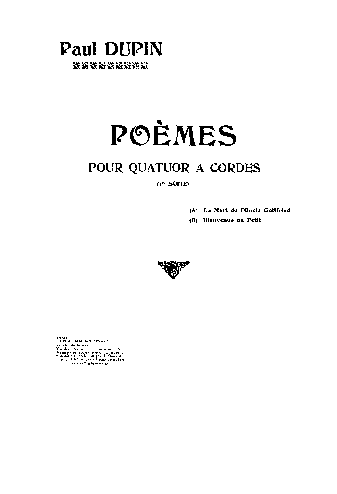 Poèmes for String Quartet, Suite 1 (Dupin, Paul) - IMSLP ...