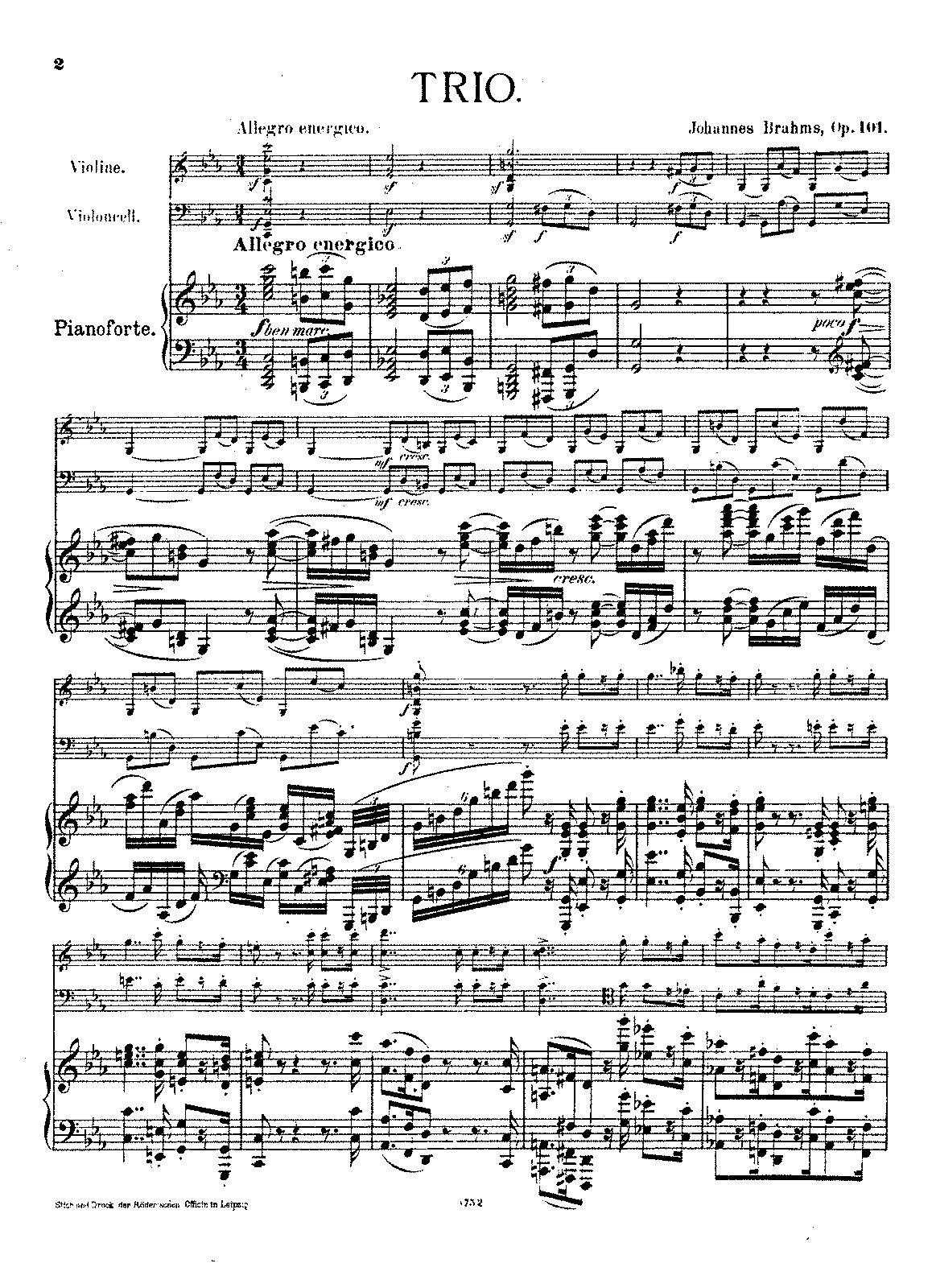 piano trio no op brahms johannes petrucci music  sheet music
