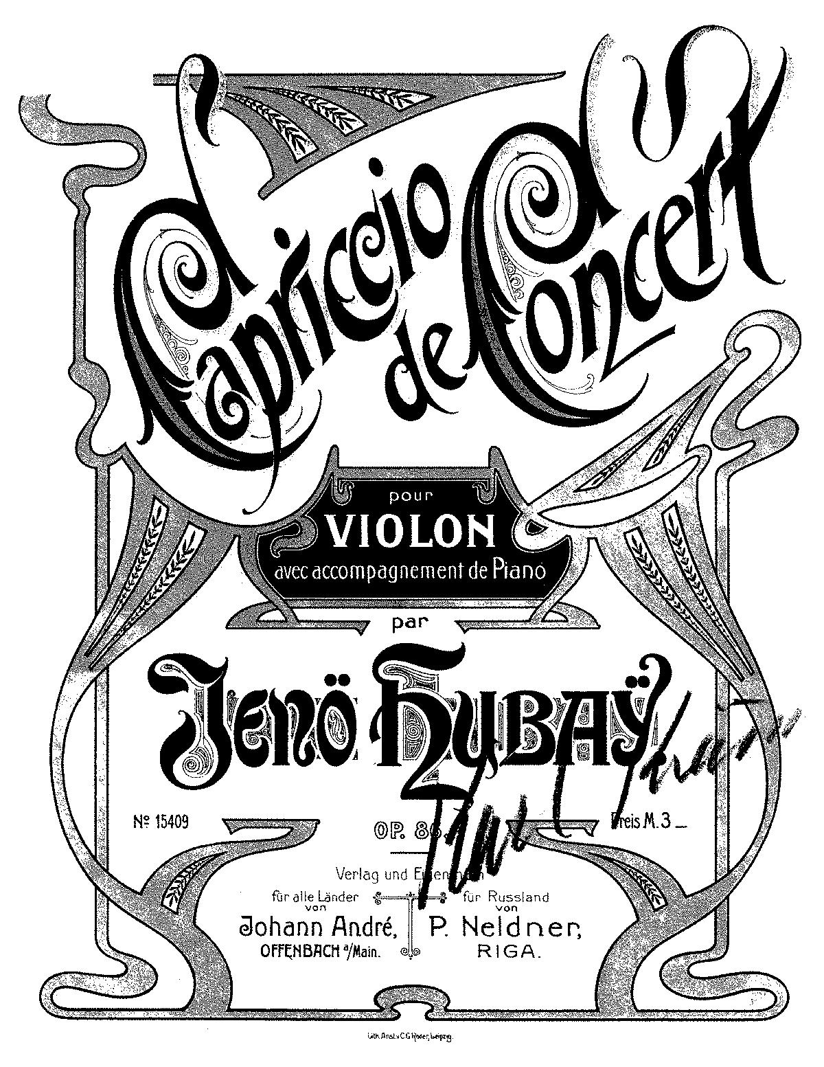 Capriccio de Concert, Op 86 No 3 (Hubay, Jenö) - IMSLP/Petrucci