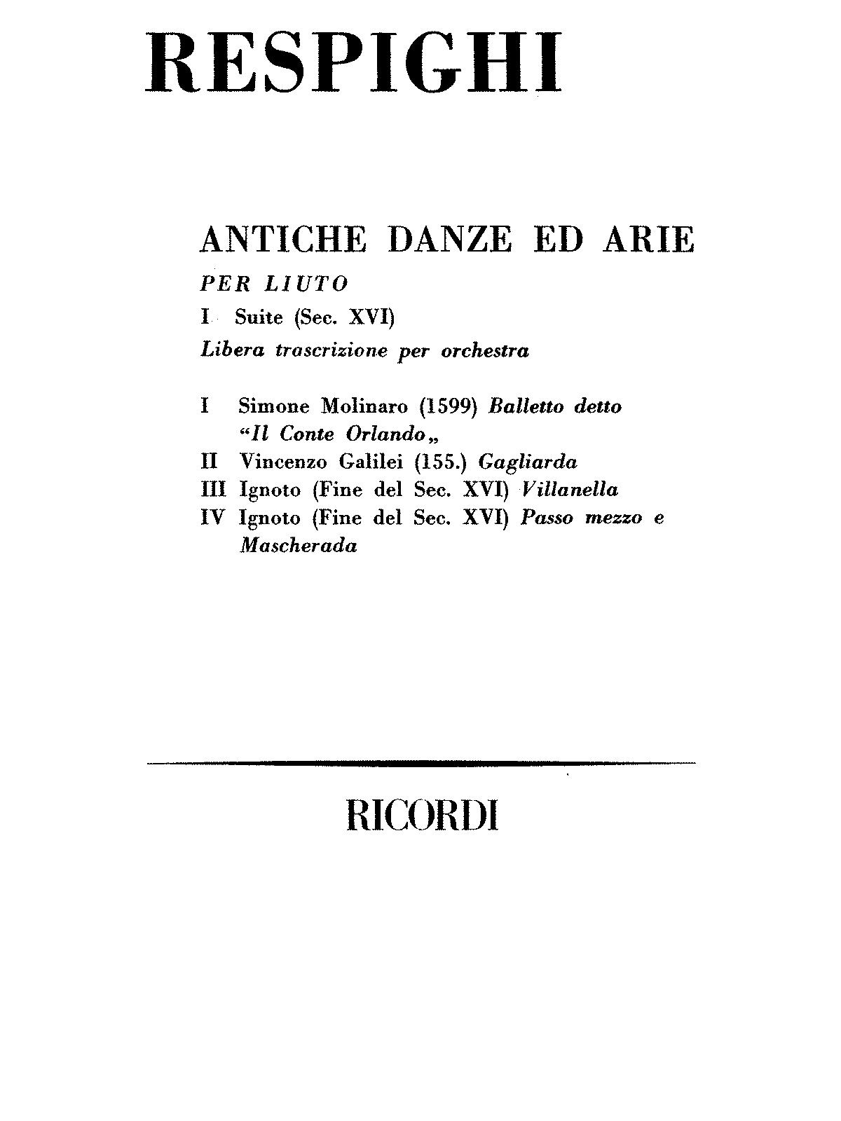 respighi antiche danze ed arie