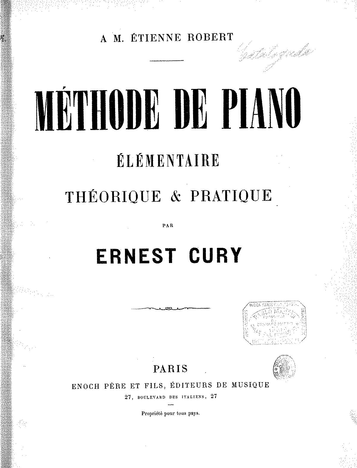 Méthode de piano (Cury, Ernest) - IMSLP/Petrucci Music Library: Free