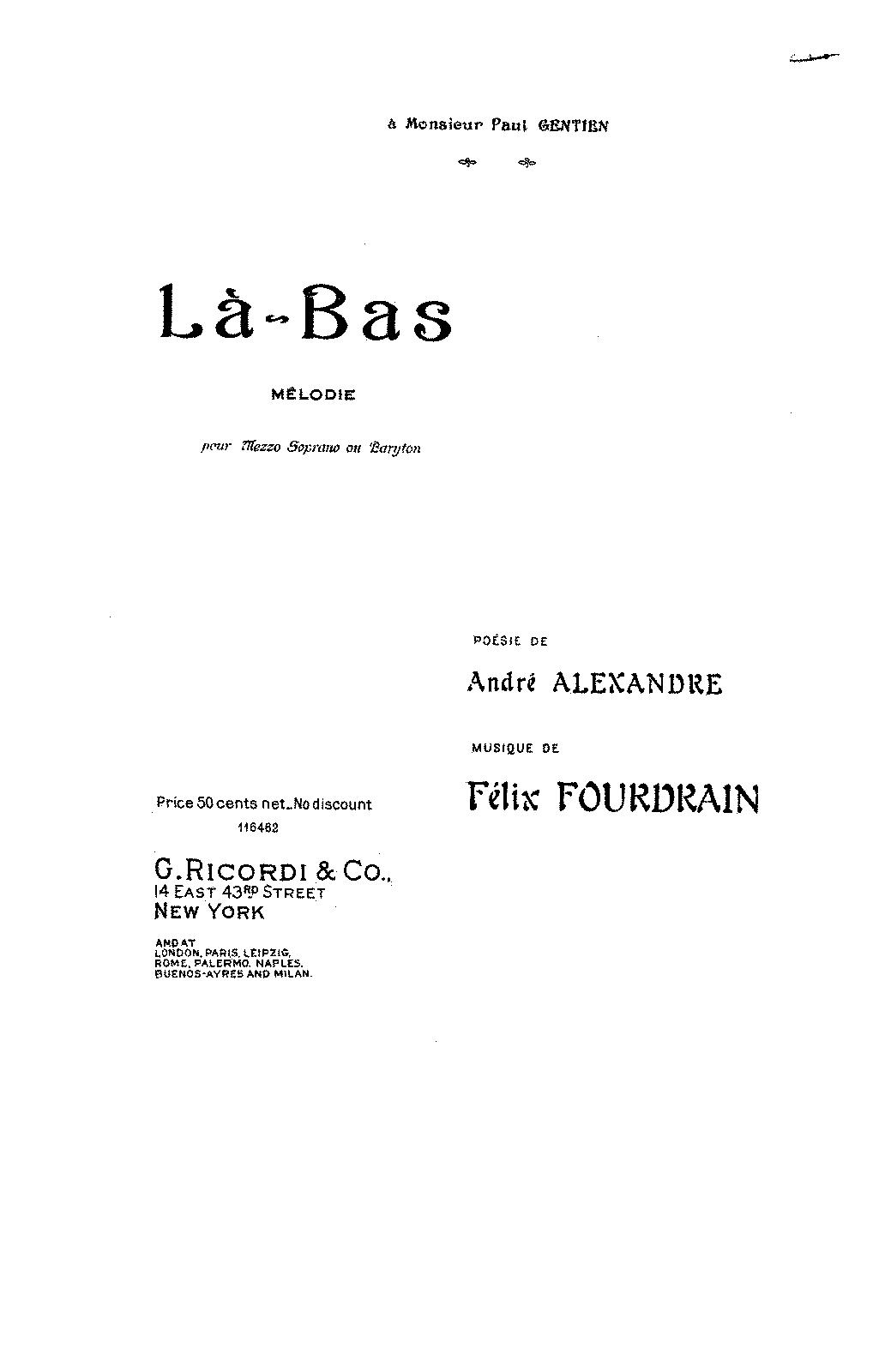 Là-bas (Fourdrain, Félix) - IMSLP/Petrucci Music Library