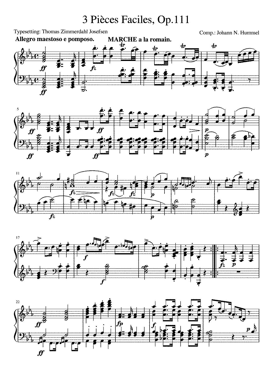 3 Pieces, Op 111a (Hummel, Johann Nepomuk) - IMSLP/Petrucci