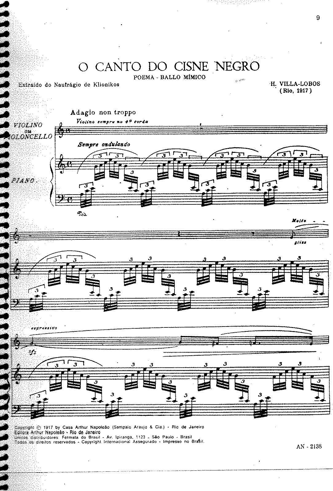 O canto do cisne negro, W122, 123 (Villa-Lobos, Heitor