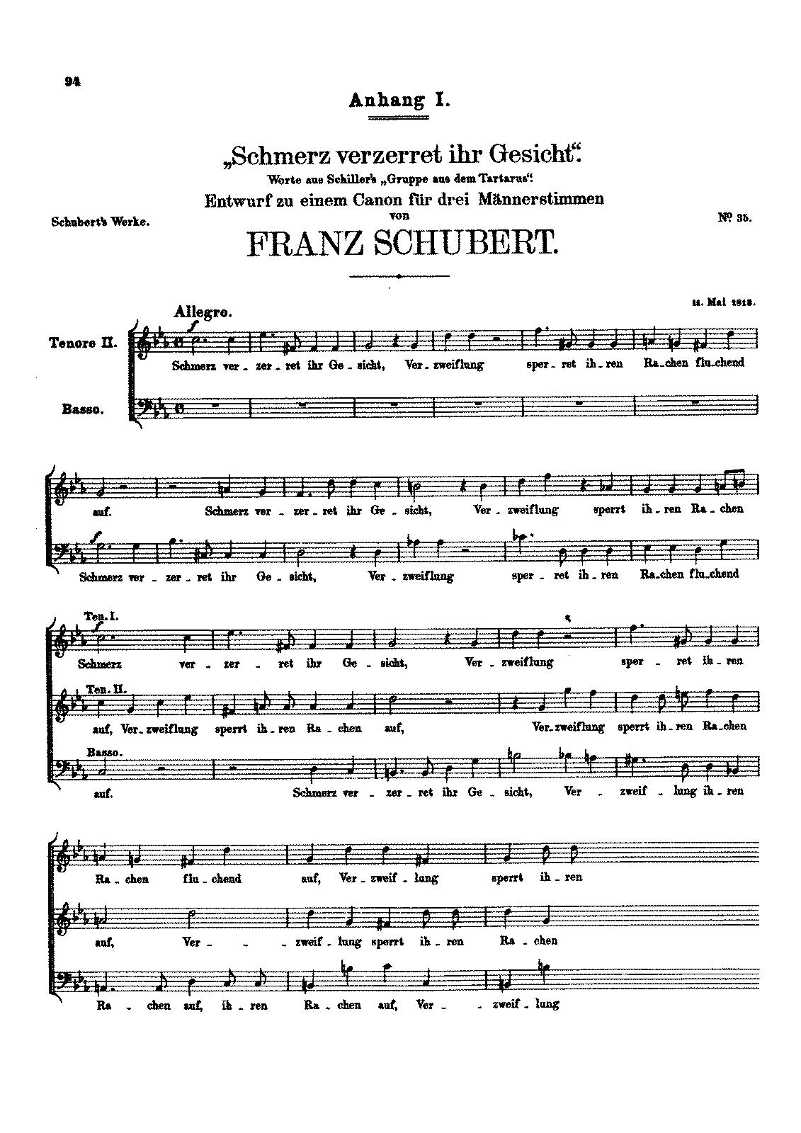 Schmerz verzerret ihr Gesicht, D.65 (Schubert, Franz) - IMSLP ...