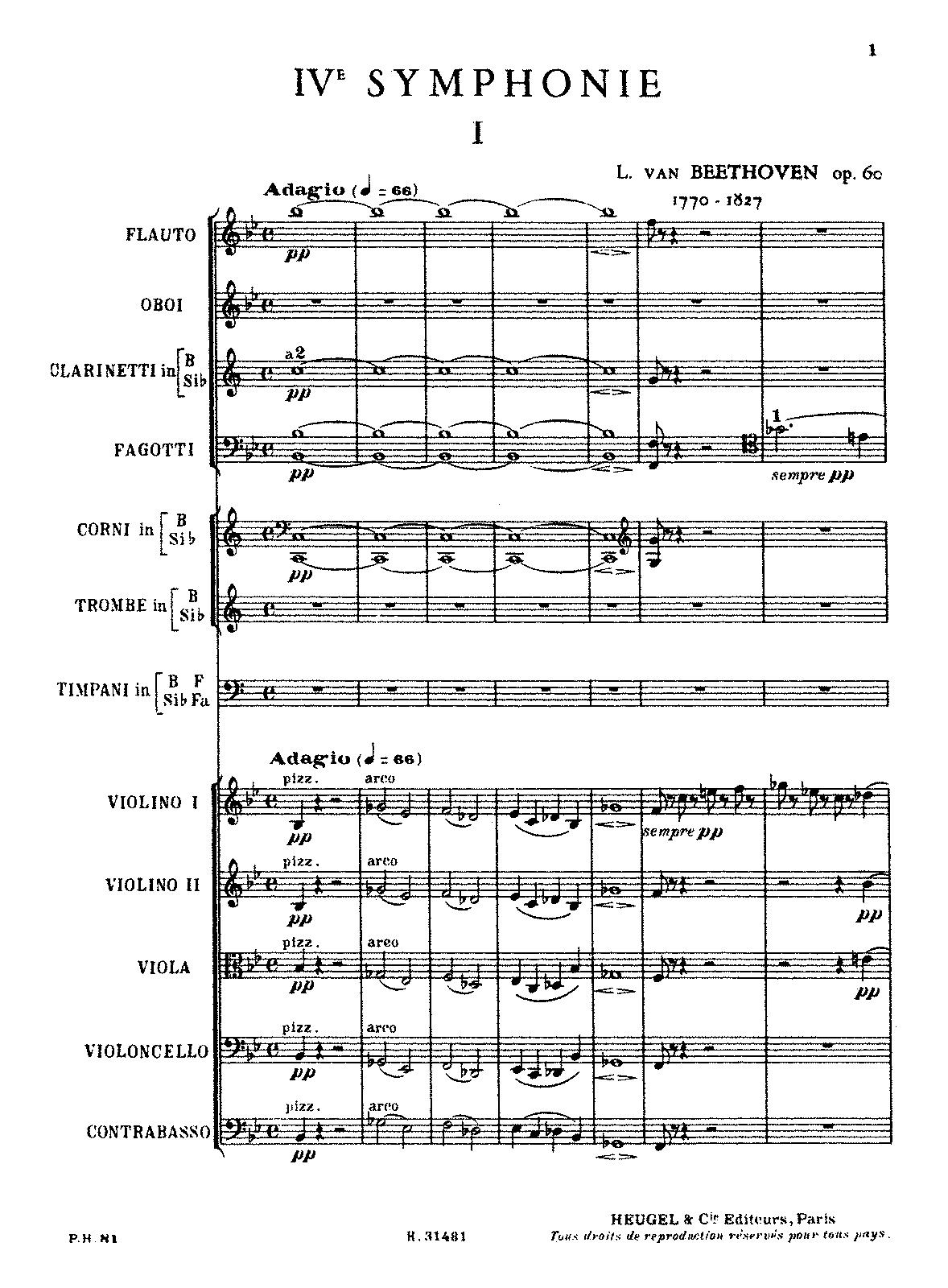 Symphony No4 Op60 Beethoven Ludwig Van Imslp Free