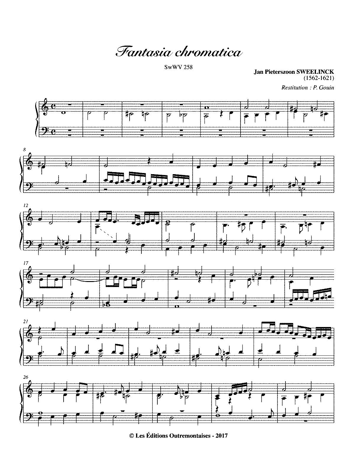 sweelinck organ fantasy score