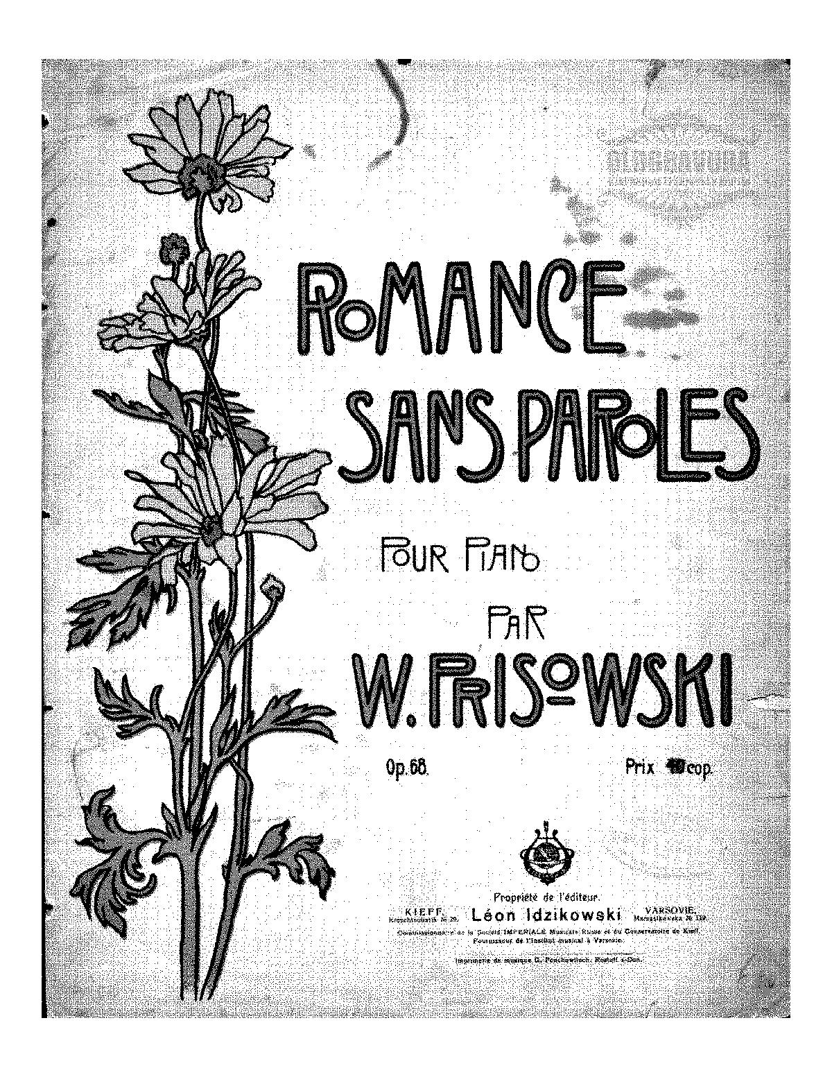 Romance Sans Paroles Op68 Prisovsky Vasily Imslppetrucci