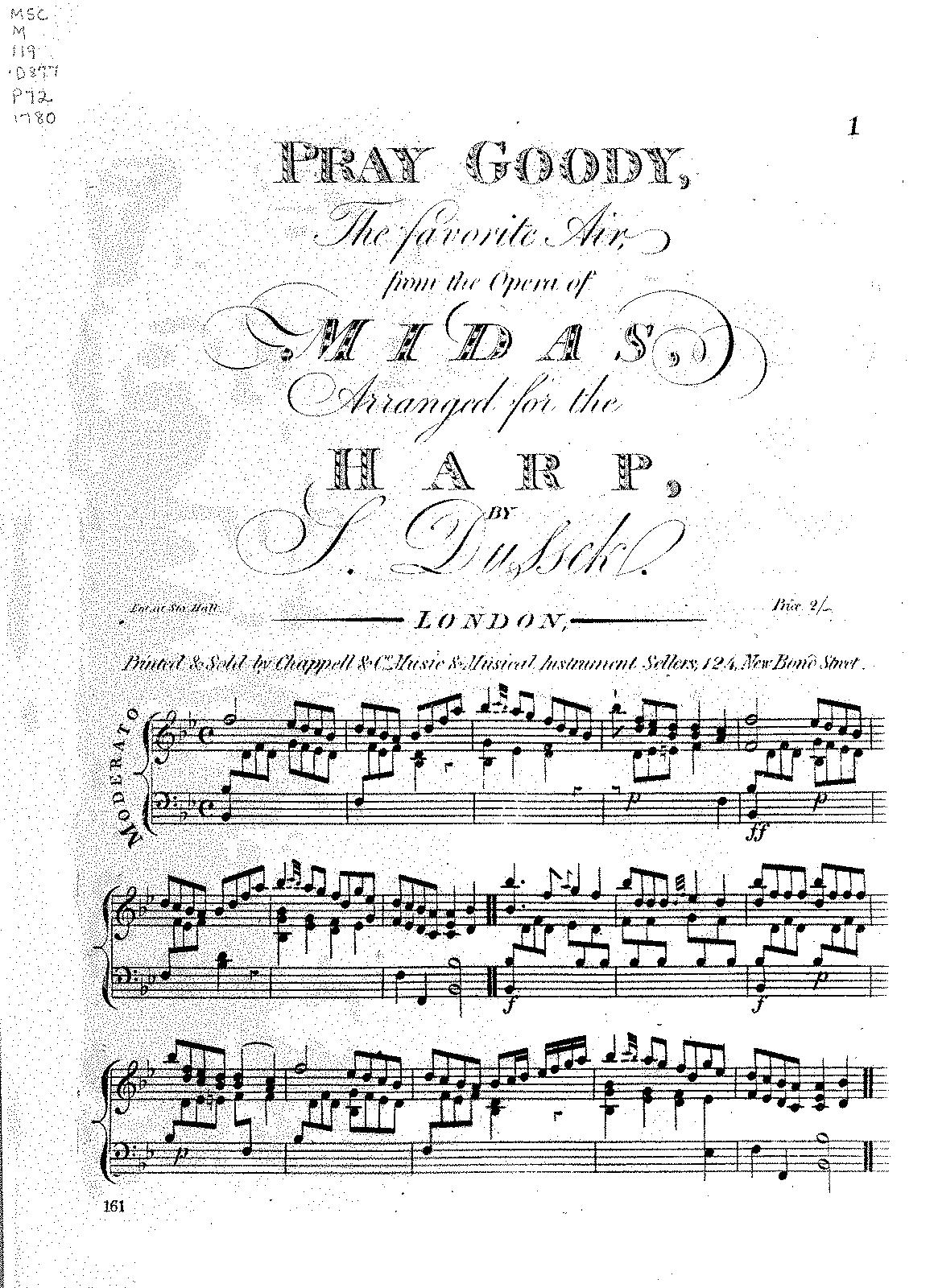 Variations on 'Pray Goody' (Dussek, Sophia) - IMSLP/Petrucci Music