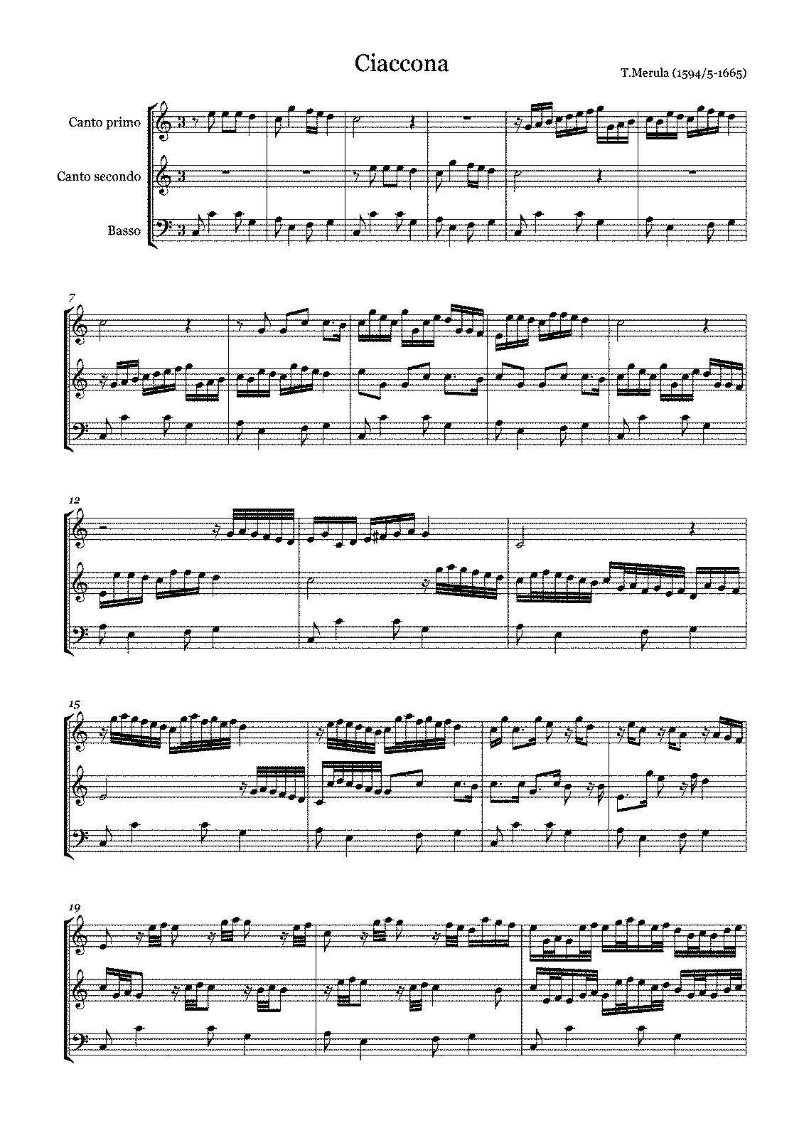 ciaccona op no merula tarquinio petrucci music  sheet music