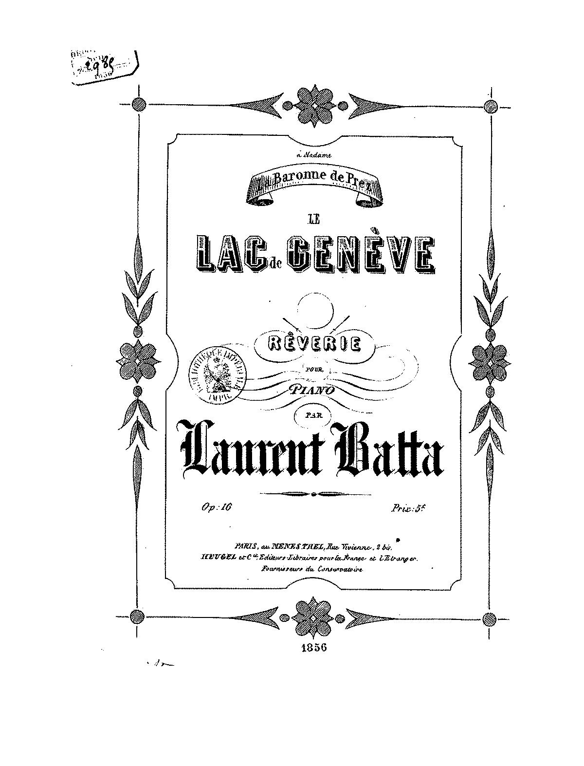 Le lac de Genève, Op 16 (Batta, Laurent) - IMSLP/Petrucci Music