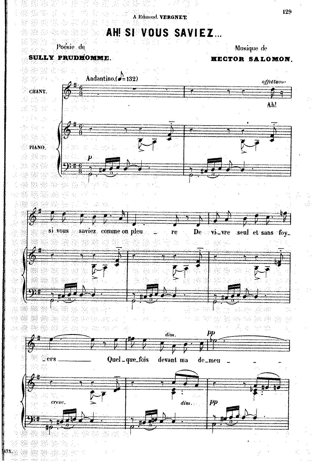 Ah! si vous saviez (Salomon, Hector) - IMSLP/Petrucci Music Library