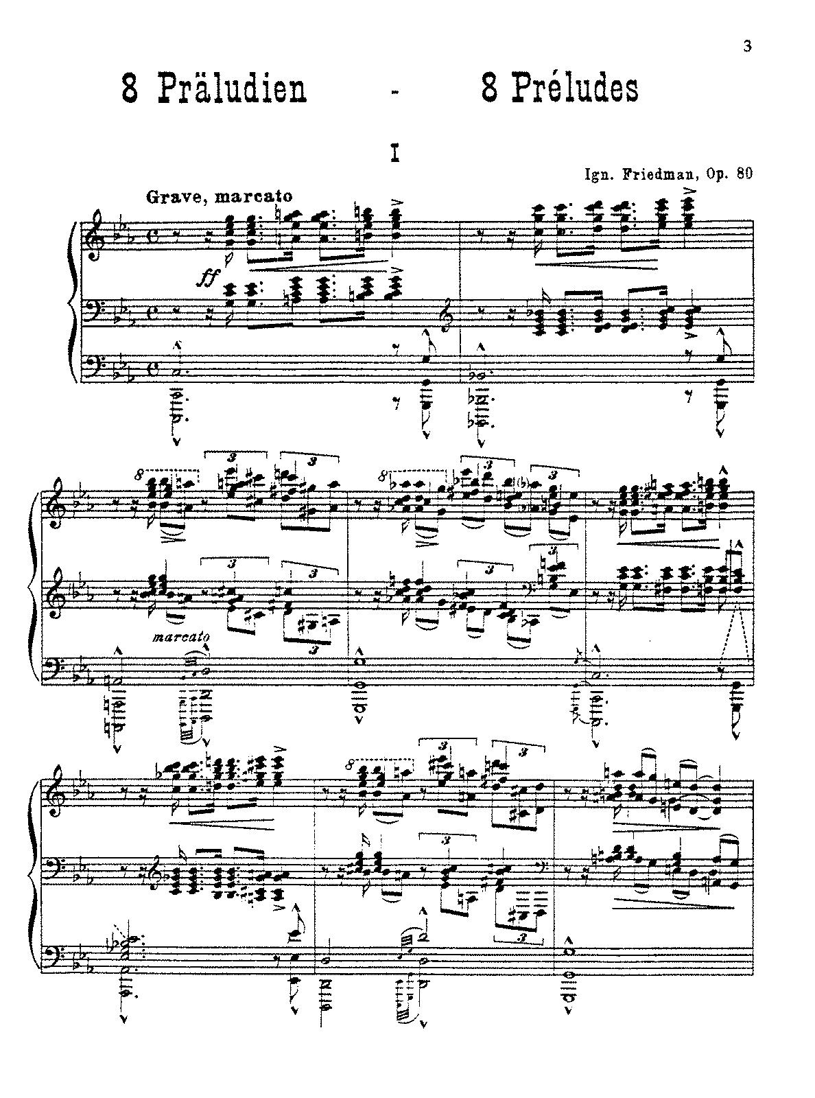 8 Preludes, Op 80 (Friedman, Ignaz) - IMSLP/Petrucci Music