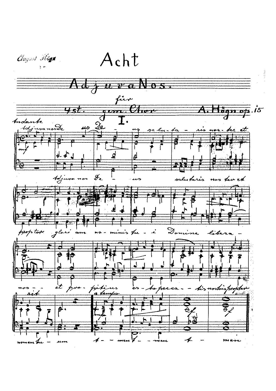 8 Adjuva nos, Op 15 (Högn, August) - IMSLP/Petrucci Music Library